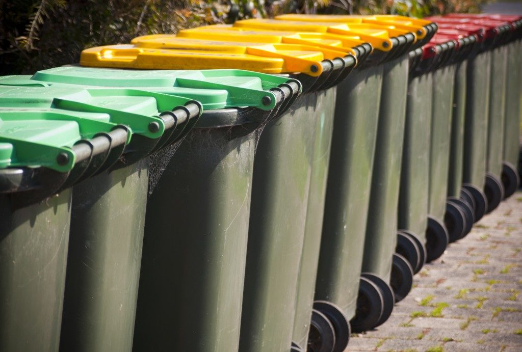 Rows of recycling bins