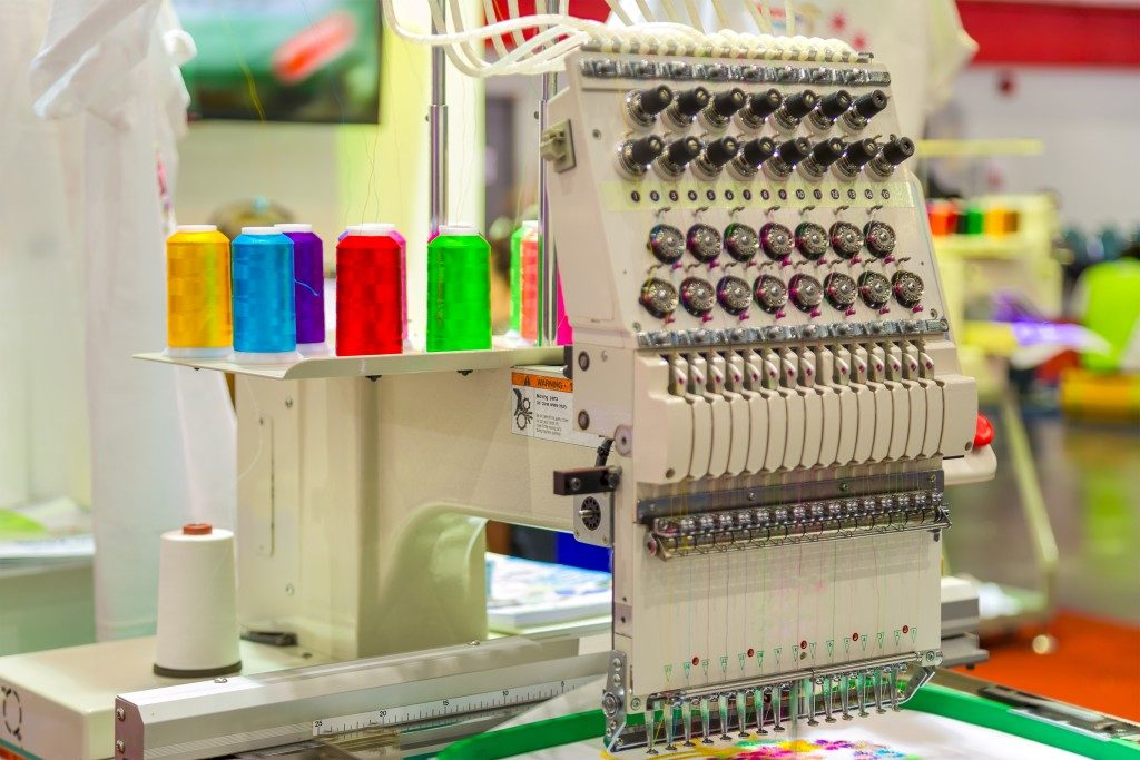 Colorful threads on an embroidery machine