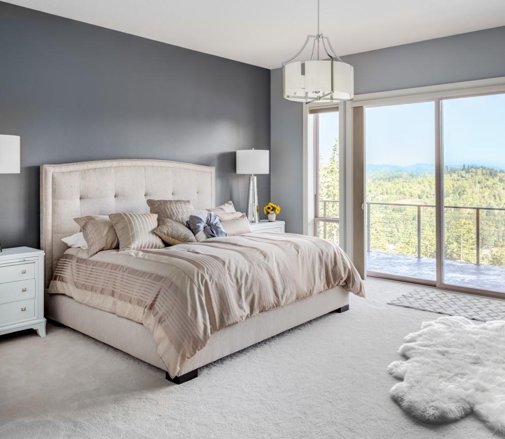 Luxury bedroom with a huge headboard