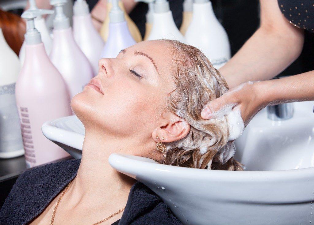 hair washing at a hairdressing salon