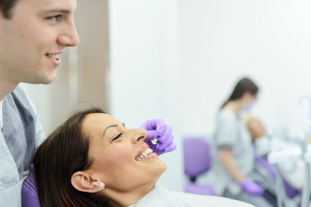 woman getting her teeth treated