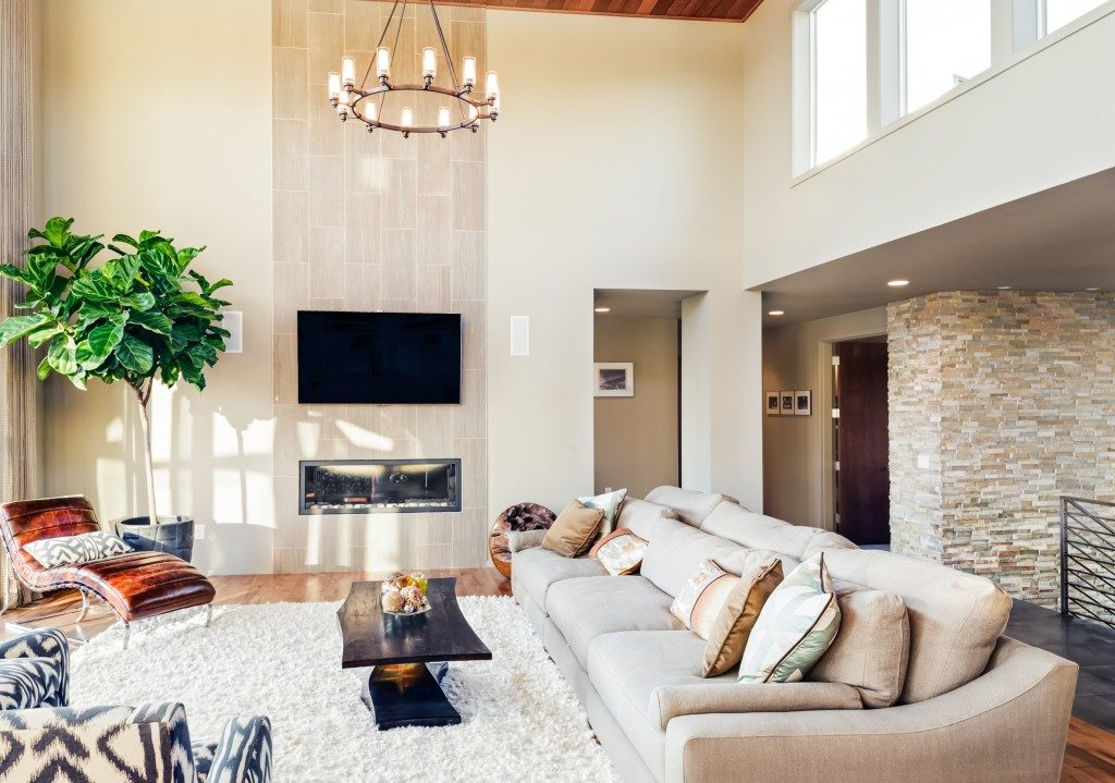 modern living room with chandelier