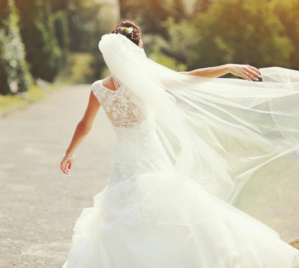 woman in her wedding dress